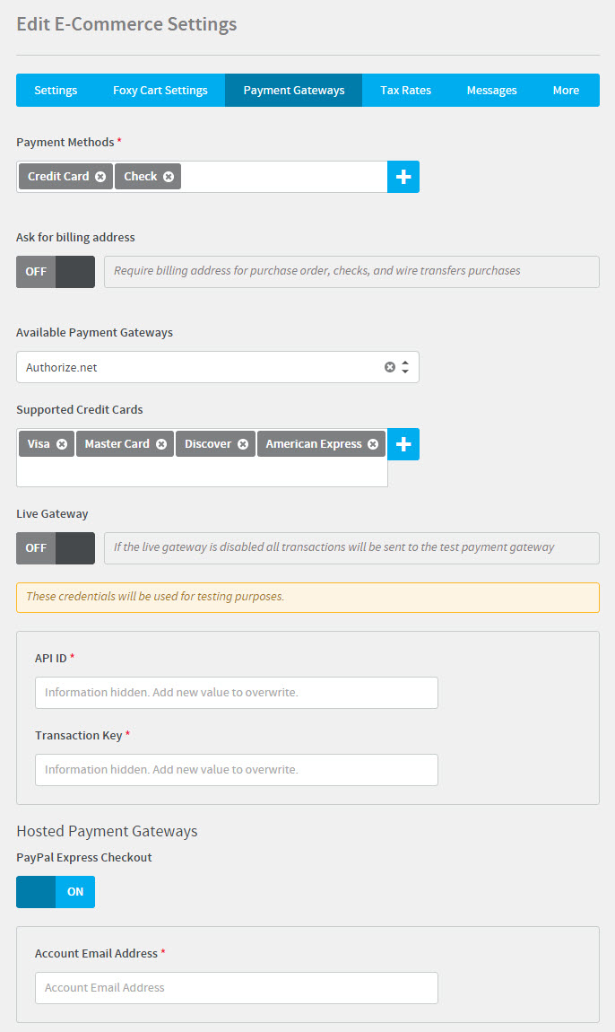 configuring e commerce absorb lms help desk in this section you can choose which forms of payment your lms will accept as well as configure the payment gateway used for processing credit card